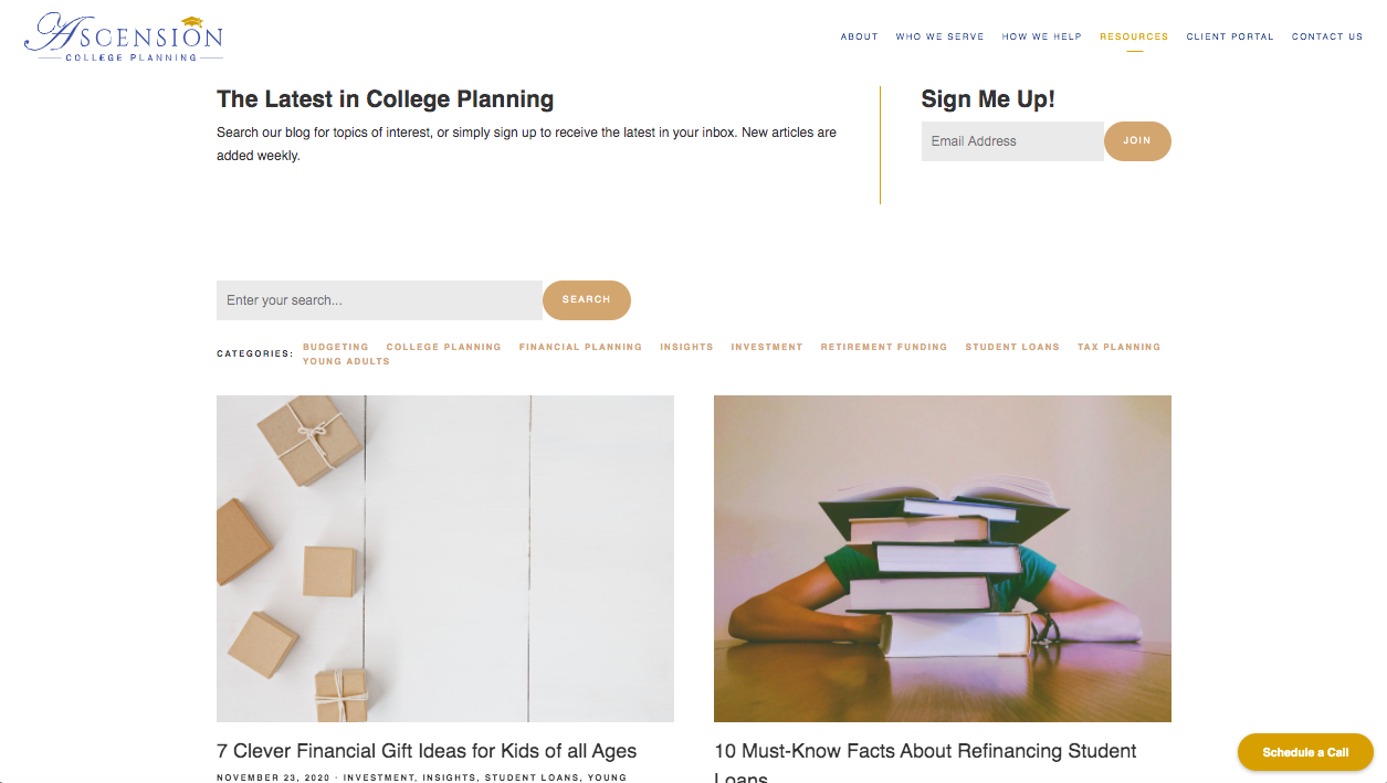 Ascension College Planning blog