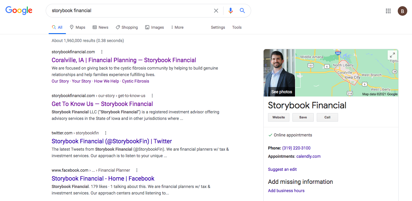 Storybook Financial social media