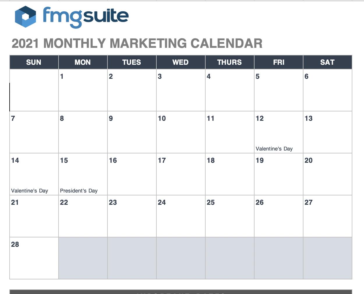 FMG Suite Editorial Calendar