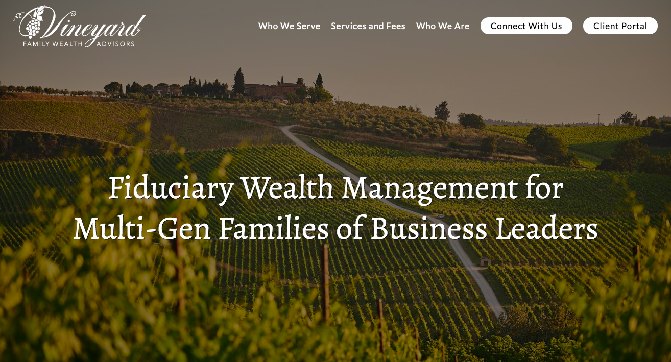 Vineyard Family Wealth website