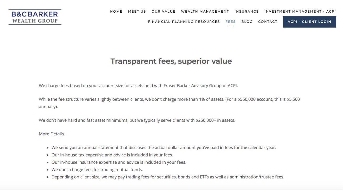 Trasparent fees