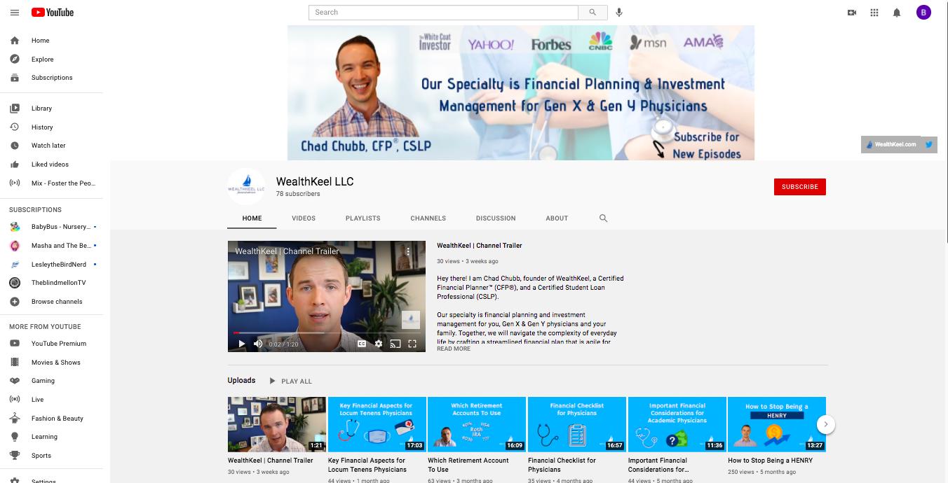 WealthKeel YouTube channel