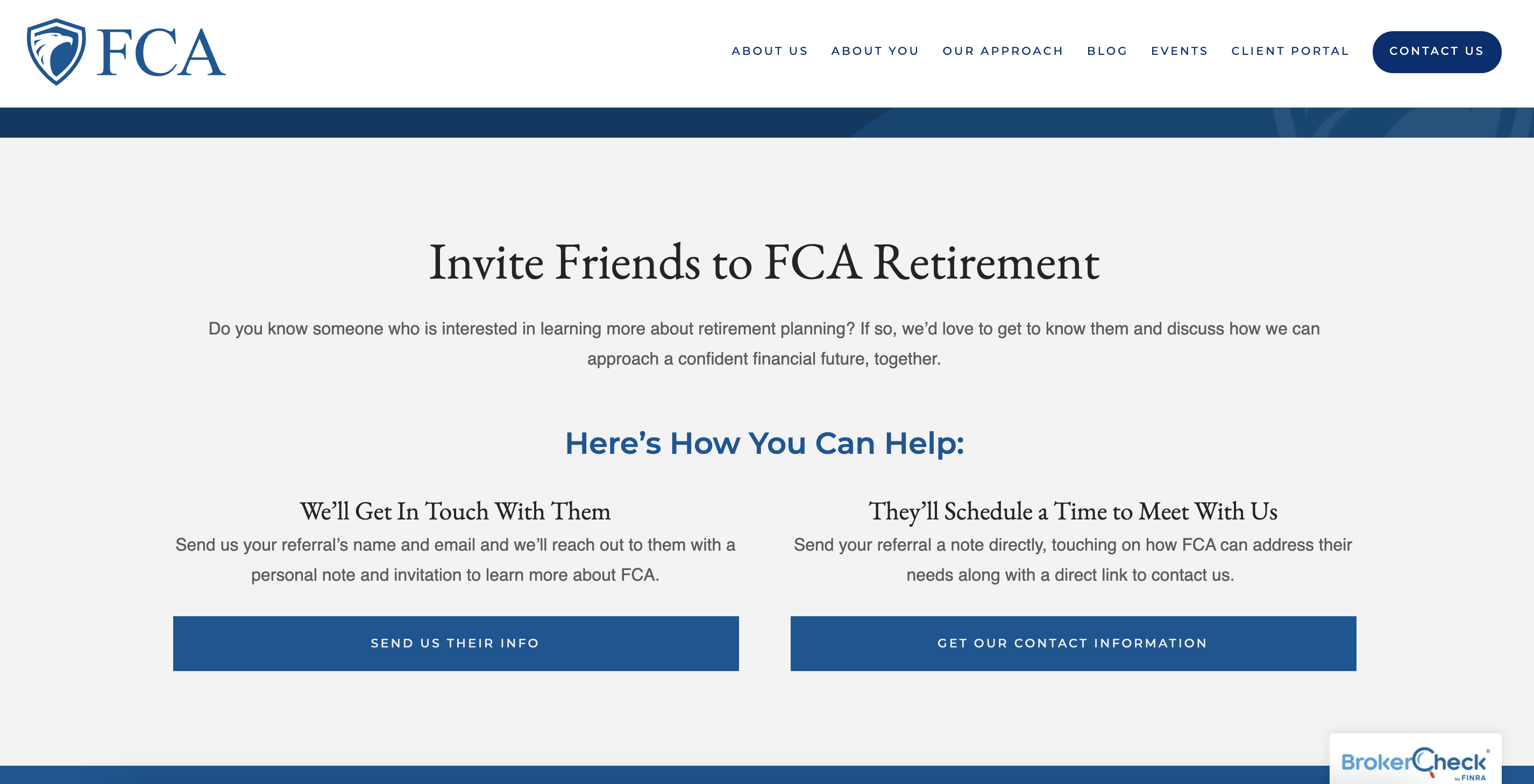 FCA Retirement landing page