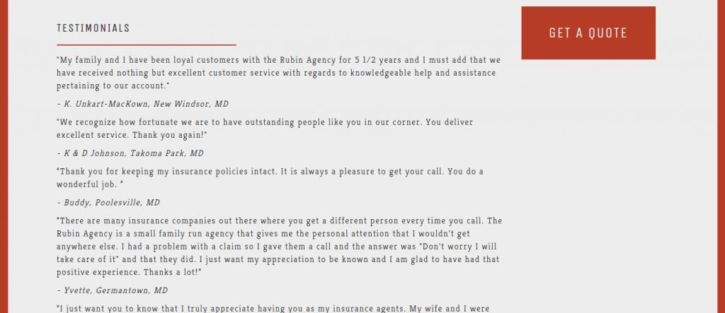 Rubin Insurance Agency Testimonial Page