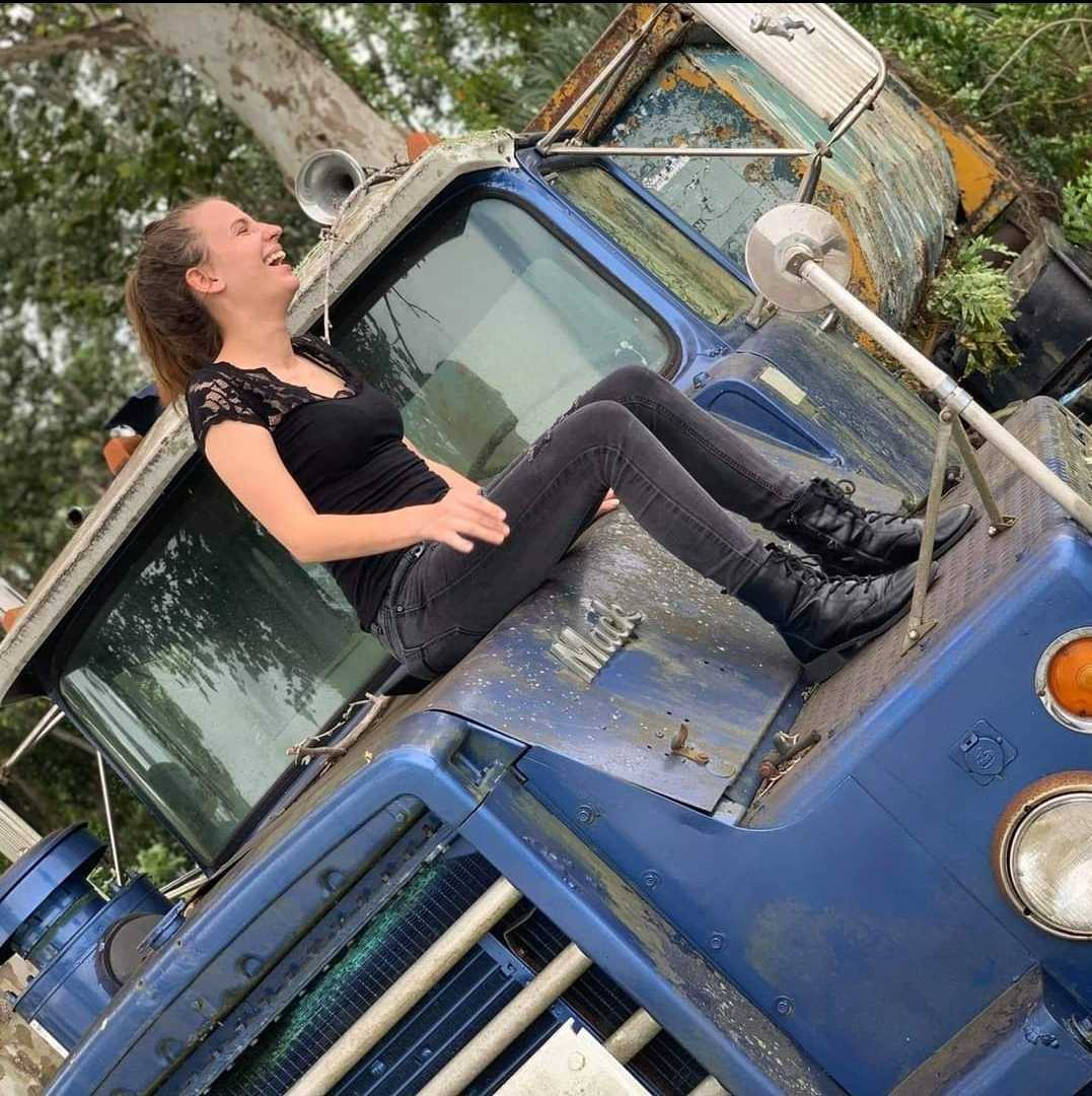 Sitting on a truck