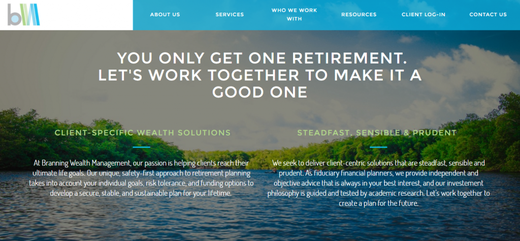 What is an example of a tailored, mobile-responsive website for financial advisors?
