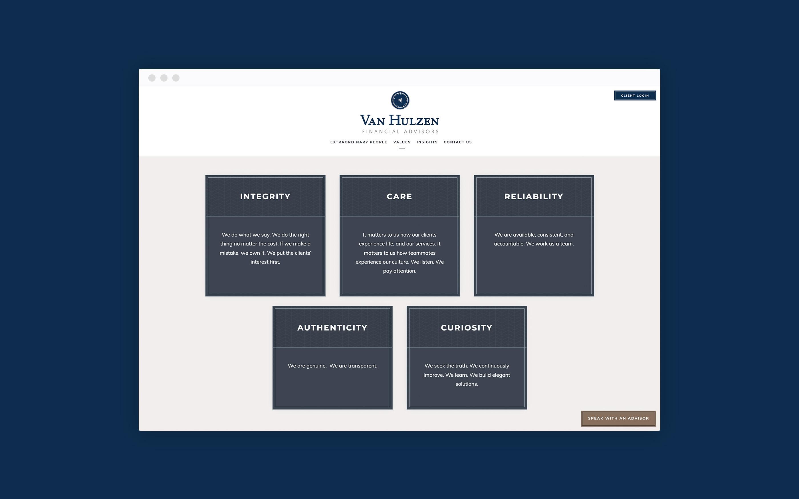 Van Hulzen Values Page