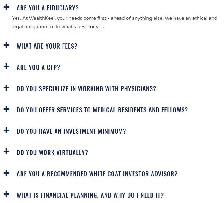 WealthKeel FAQ Page Example