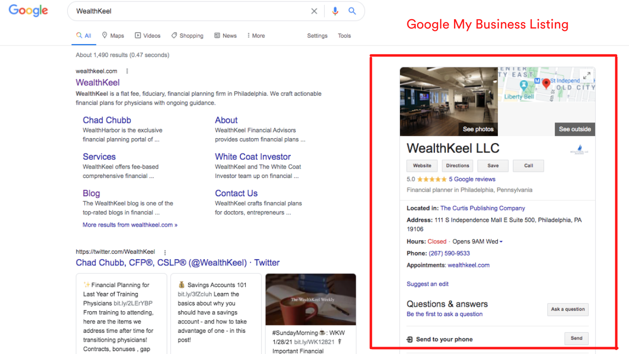 WealthKeel Google My Business Listing Example