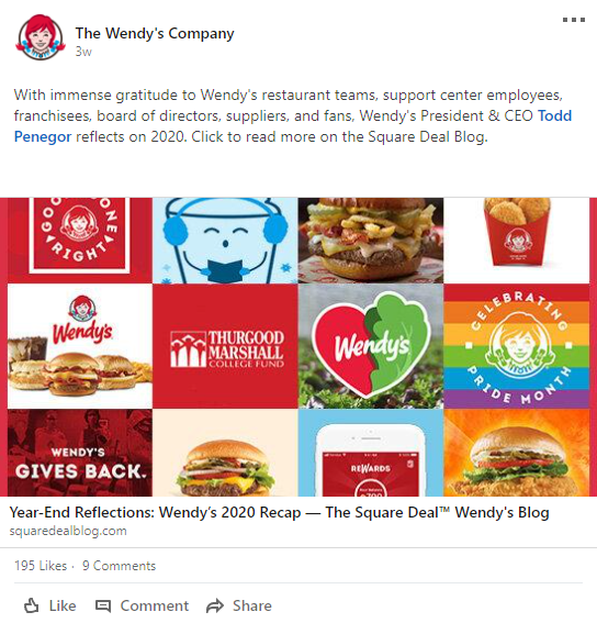 Wendy's LinkedIn Example