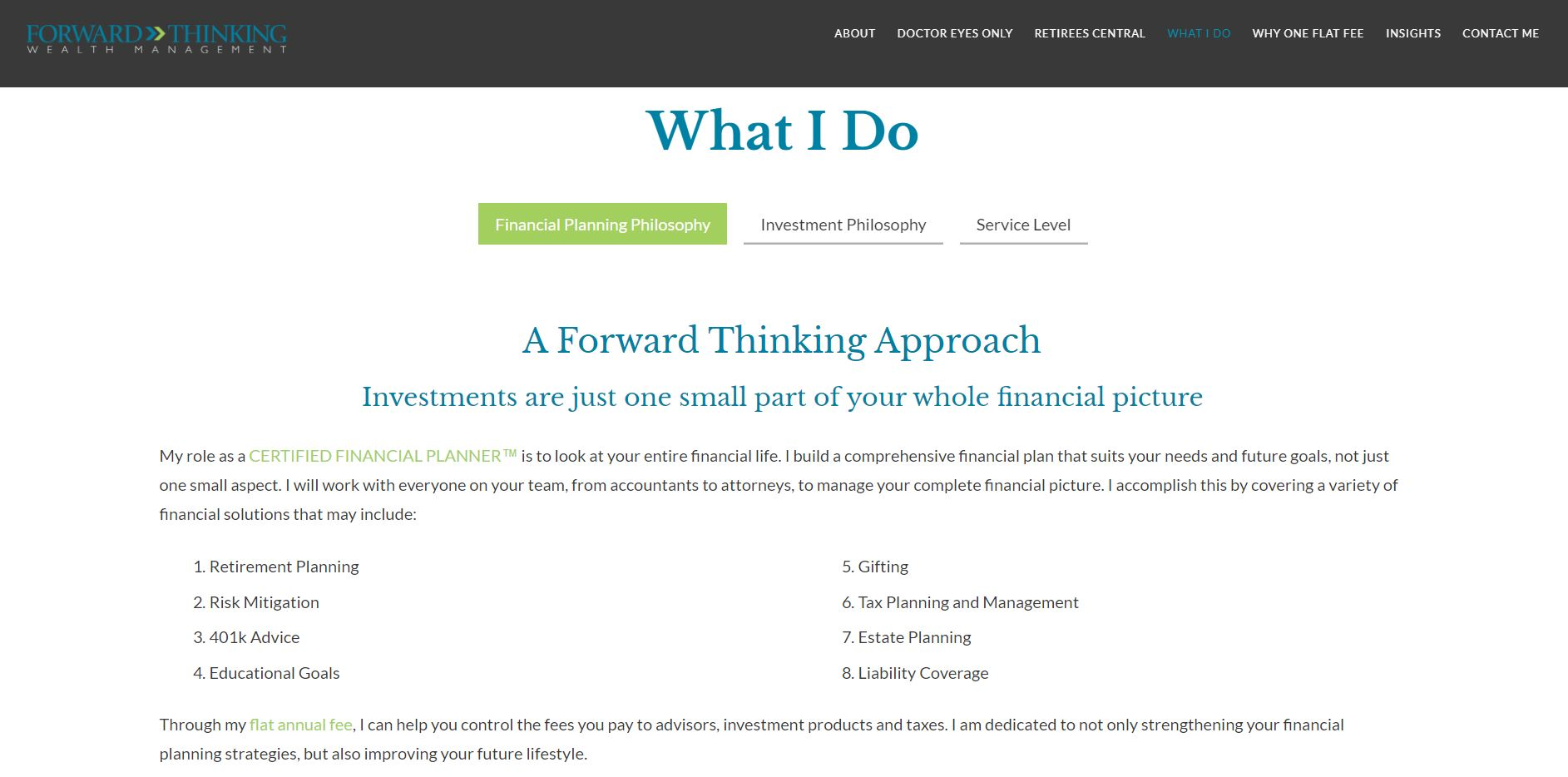 Forward Thinking Wealth Management services