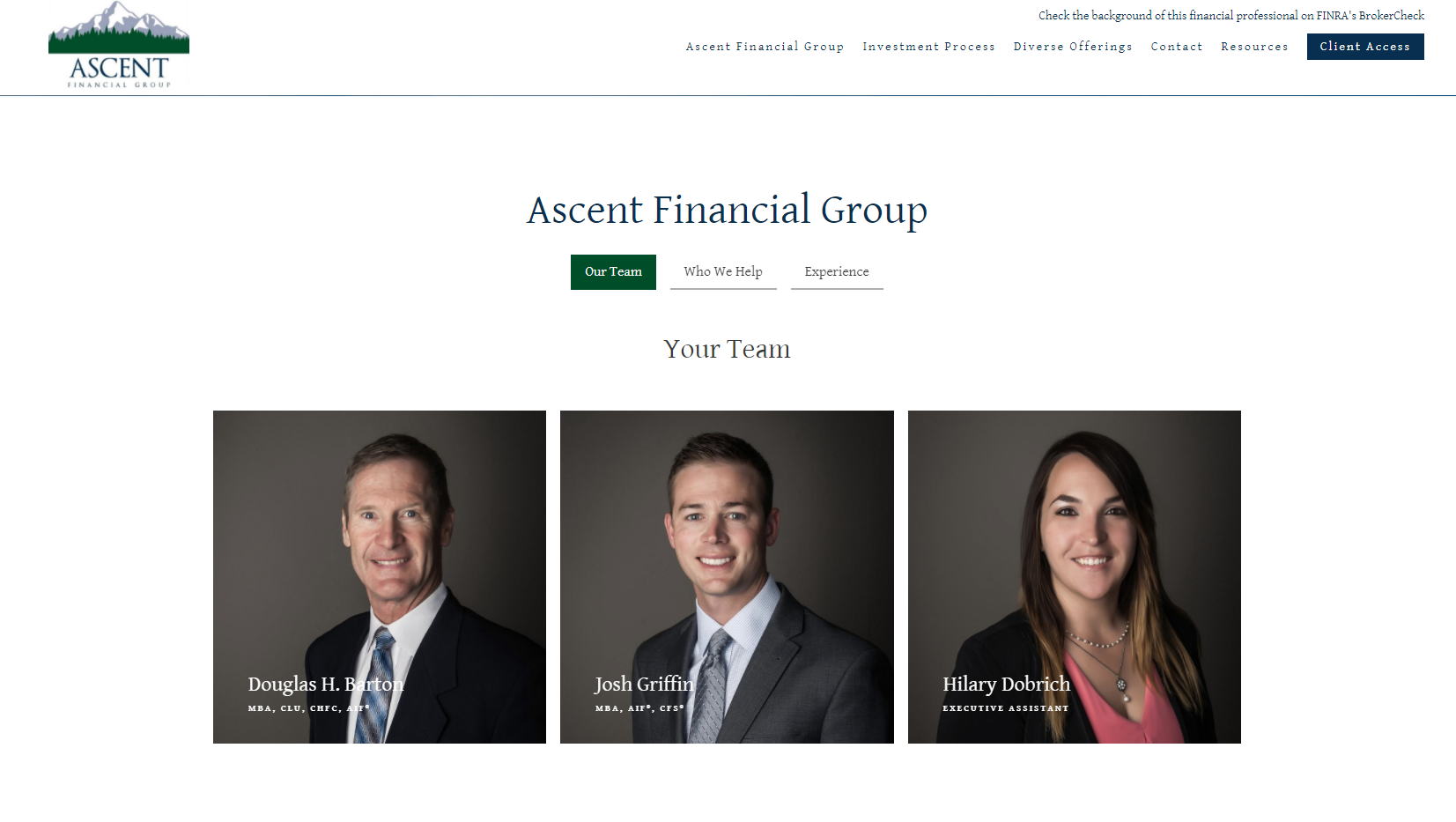 bio page for financial advisor