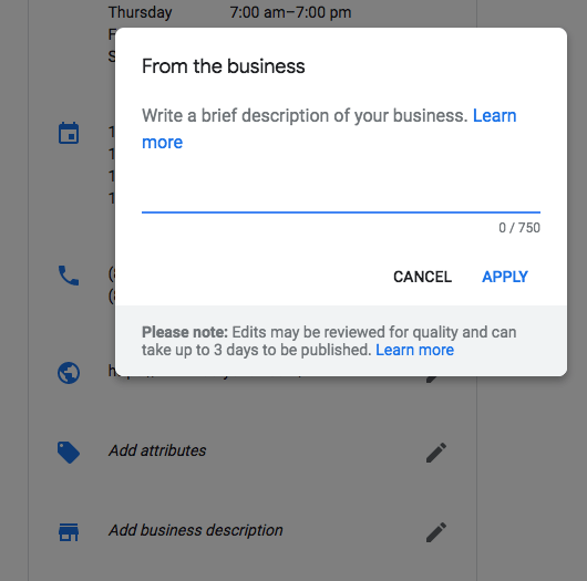 adding a business description in google my business