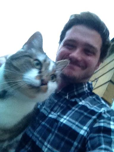 Stuart and a cat