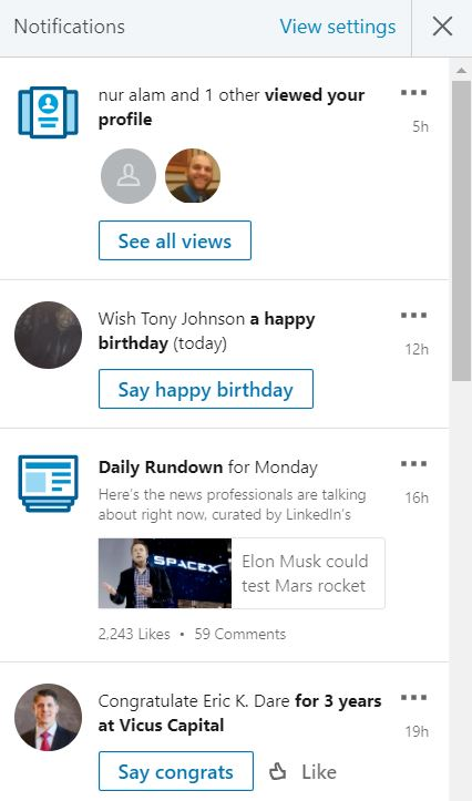 chat in linkedin notifications