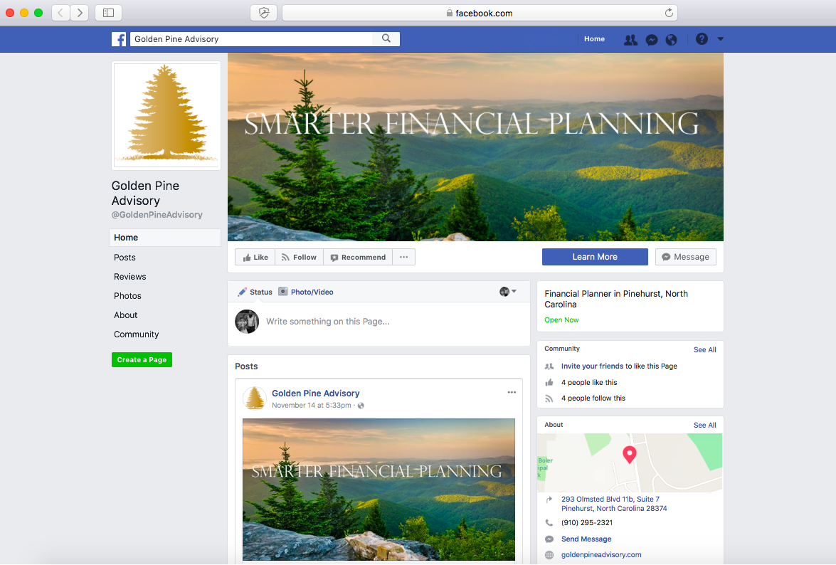 Financial advisor Facebook page, Golden Pine Advisory