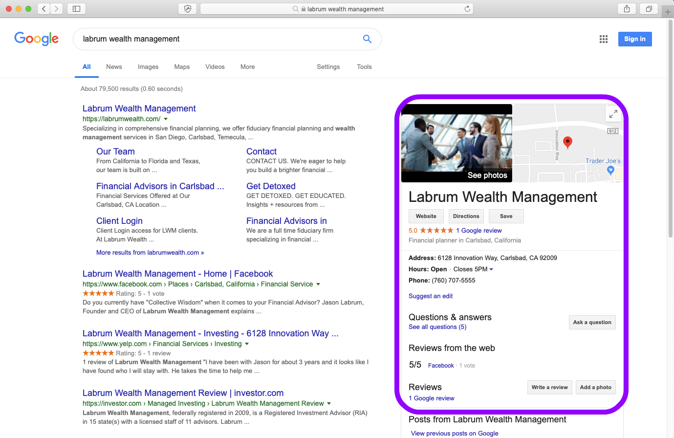 Advisory Firm Google My Business Page Listing