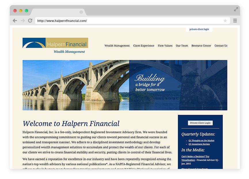 """Halpern Financial's Home Page connects the team's slogan """"Building a Bridge for a Better Tomorrow"""" with imagery that reflects that statement"""
