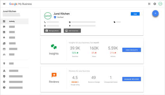 dashboard of google my business
