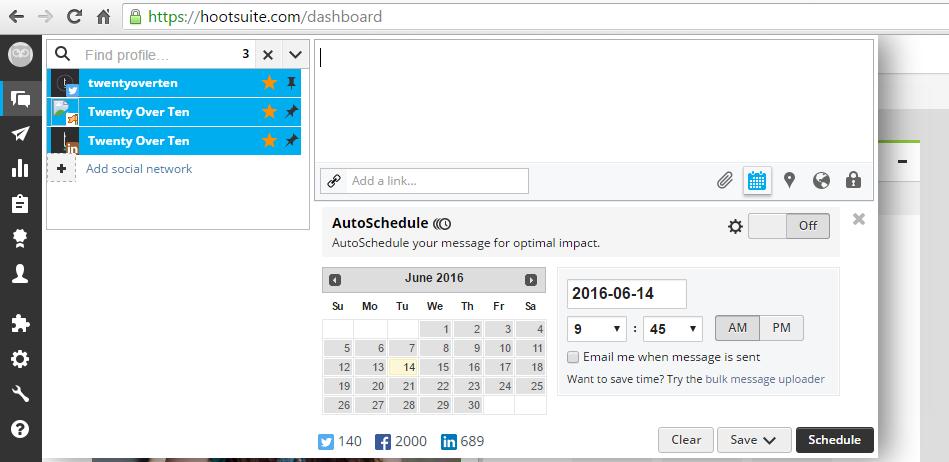 hootsuite schedule