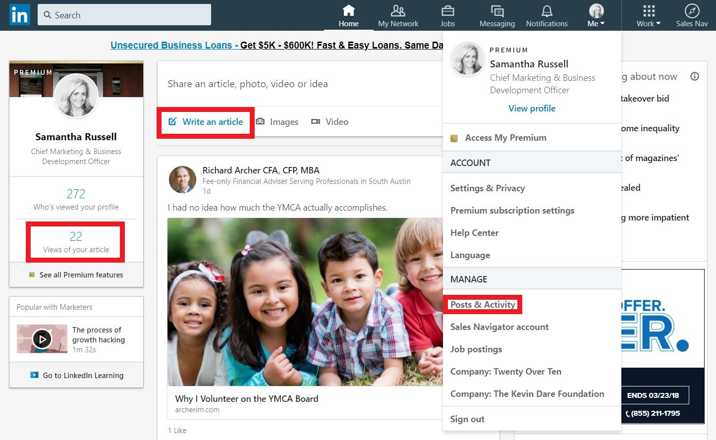 how to write article on linkedin