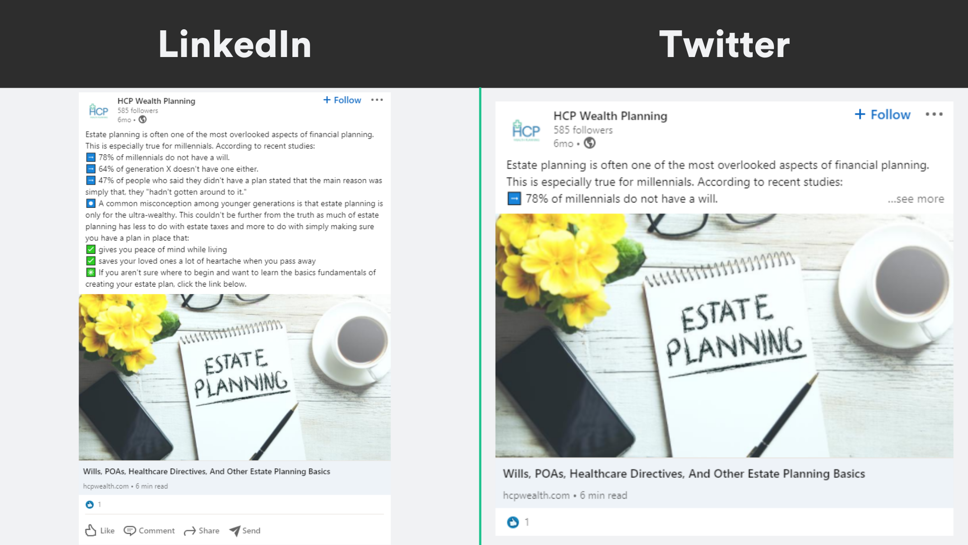 HCP Wealth Planning Social Media Example