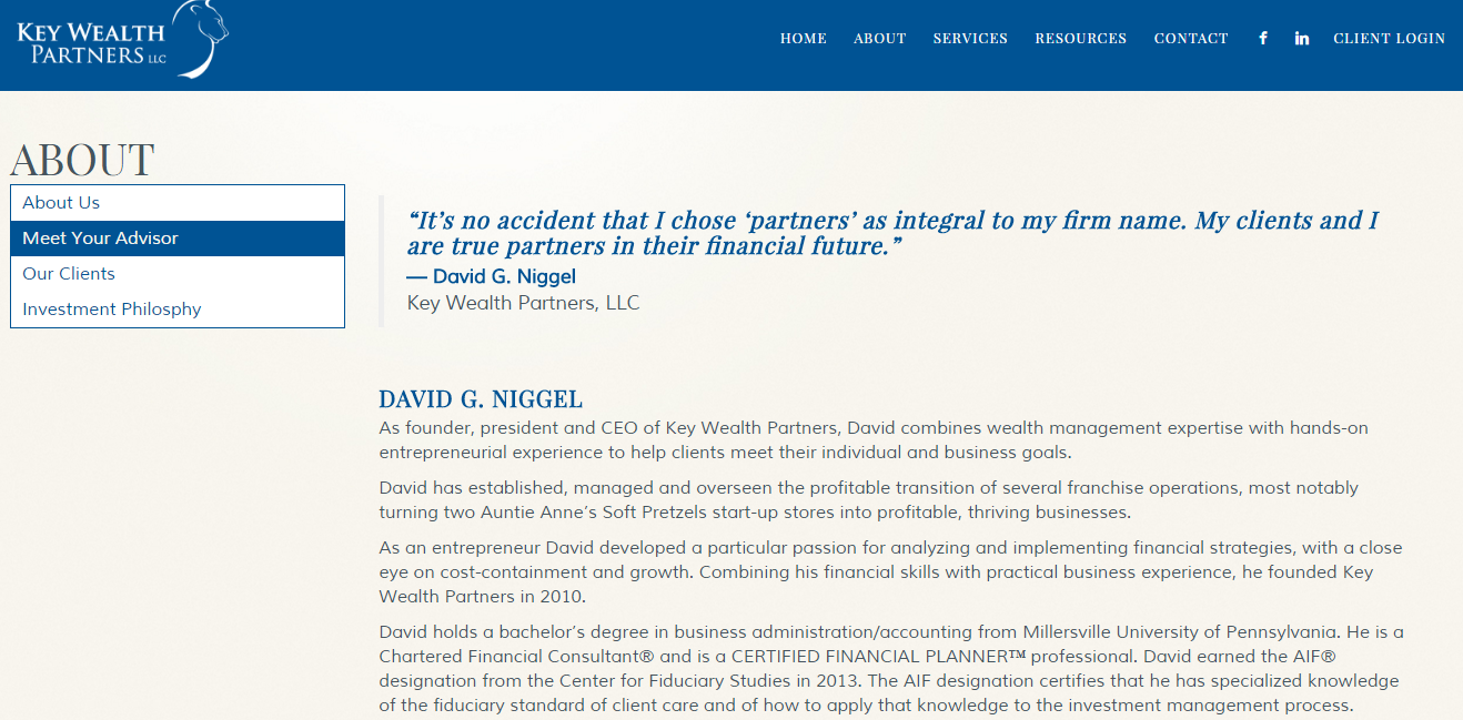 Key Wealth Partners: Advisor Websites Client Showcase