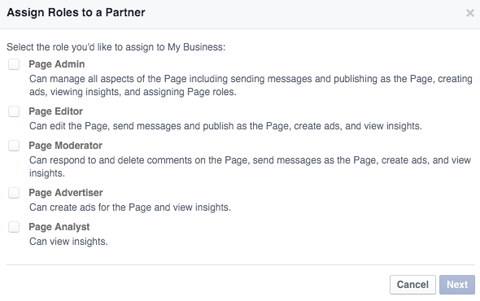 assigning roles to partners on facebook business manager
