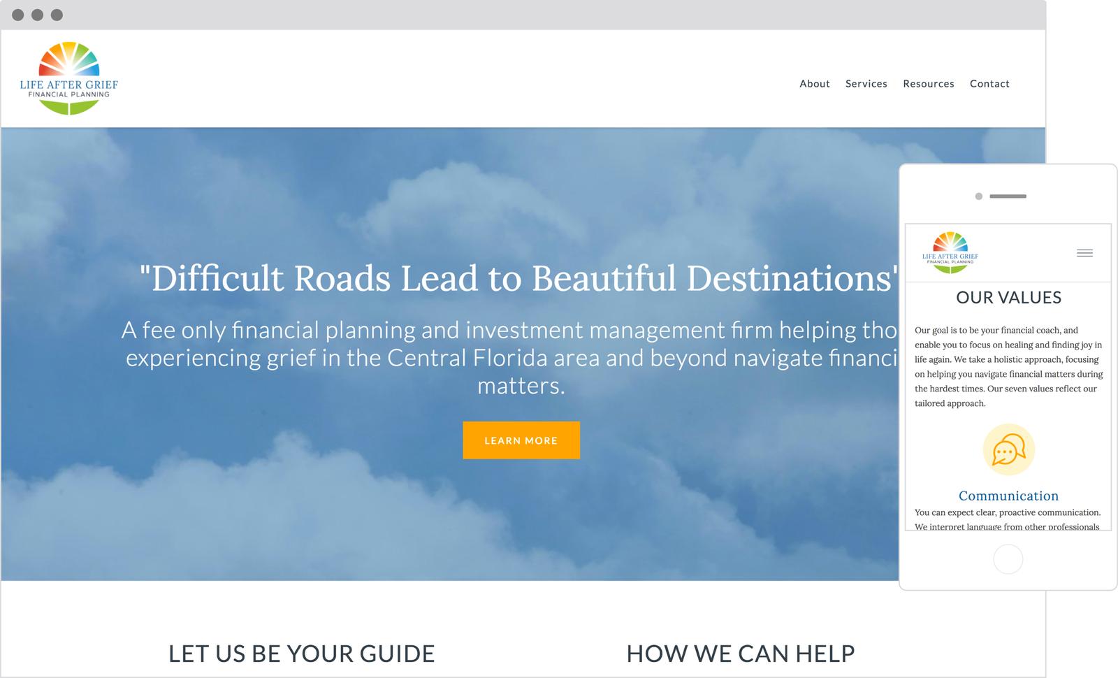 Life After Grief - Best Designed Financial Advisor Website