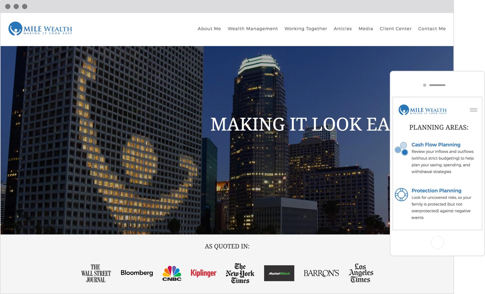 MILE Weath Management - Best Designed Financial Advisor Website