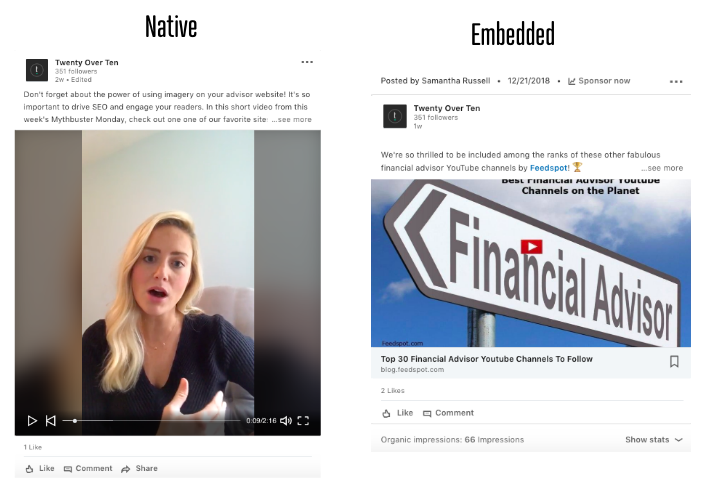 native vs embedded videos in linkedin