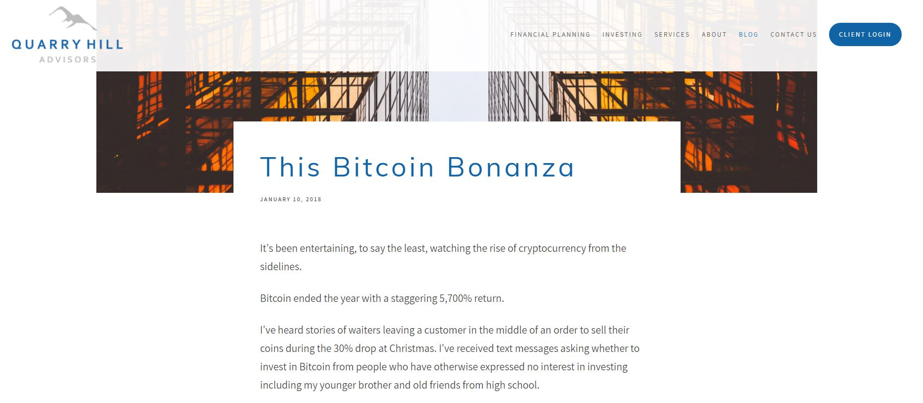 quarry hill financial advisor blog, what is bitcoin