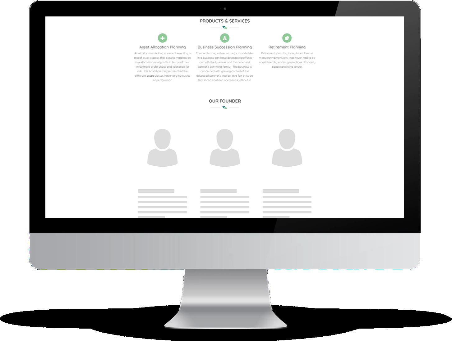 example of template-based advisor website