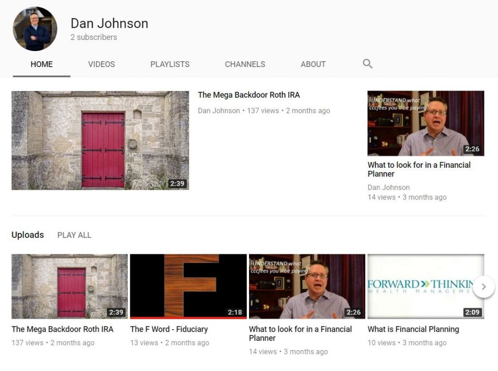 youtube for financial planners