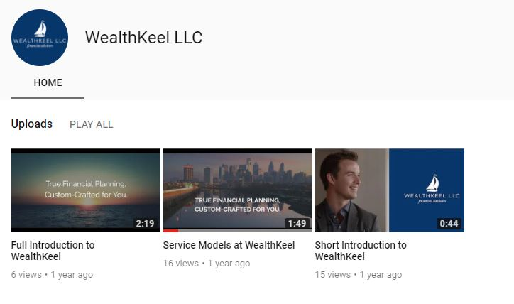 wealthkeel youtube page for financial advisors