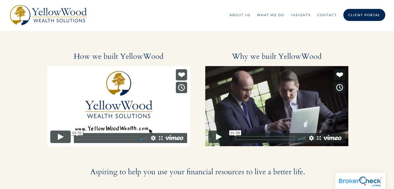 homepage video from YellowWood Wealth Solutions
